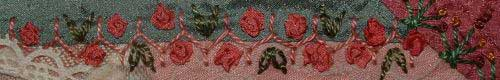 Cretan stitch, gathered ribbon roses and detached chain stitch