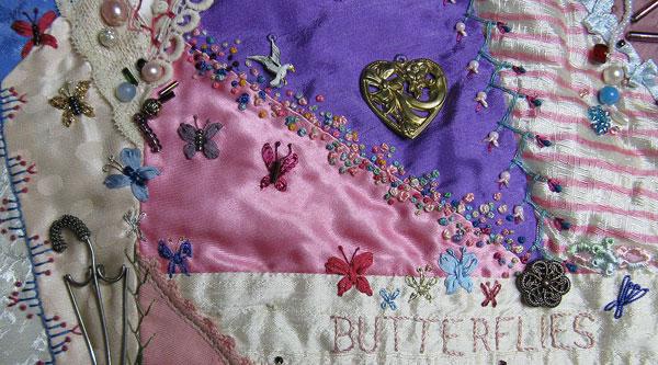 Detached buttonhole stitch butterflies