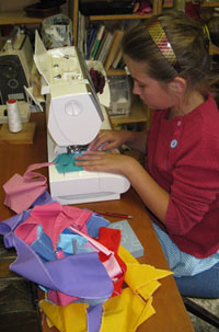 sewing pennants for the castle