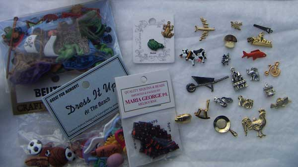 Buttons and charms from the crafty frog