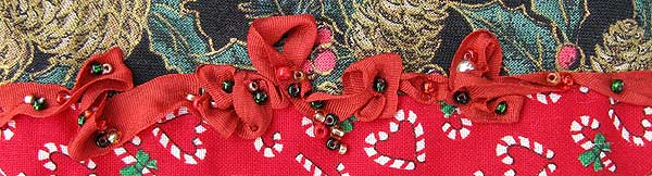 Ruched Silk Ribbon with Beads