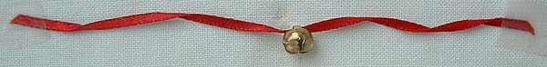 thread bell onto ribbon and twist