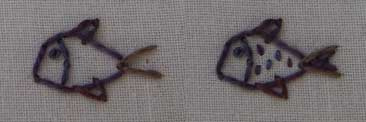 filling in the details of embroidered fish