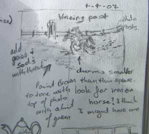 first ideas for horse detail in visual journal
