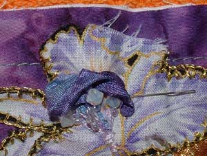 embellishment pinned out of way