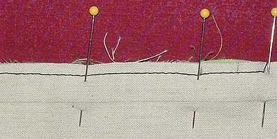 stitching line marked on lining