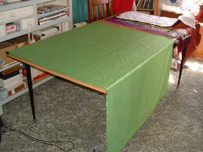 tape backing to table