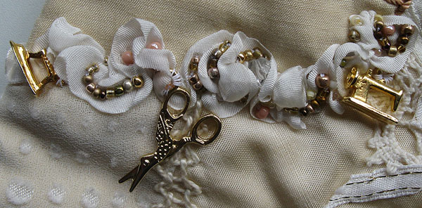 Rouched Ribbon with Beads and Charms
