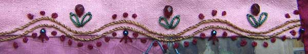 stem stitch curves with colonial knots, detached chain stitch and beads