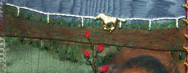 embroidered detail on paint