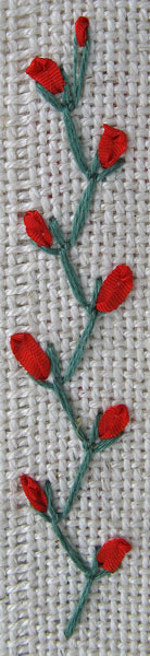 Feather Stitch with silk ribbon straight stitches
