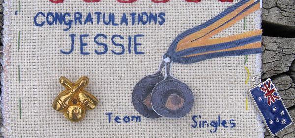 putting j\'s medals on my sampler