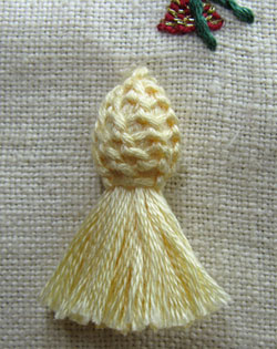 Buttonhole stitch top on a tassel