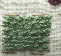 Buttonhole stitch to needleweave