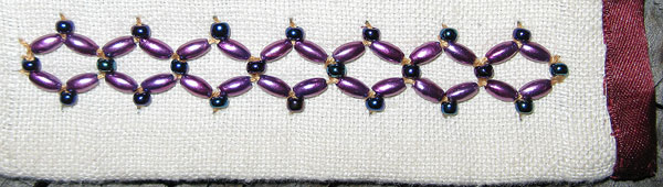 Double row Cretan Stitch with Beads
