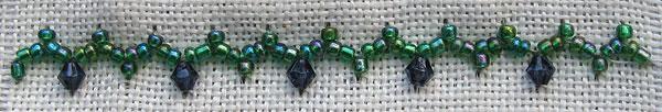 Beads on Cretan Stitch