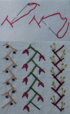 SAmples of cretan stitch variations