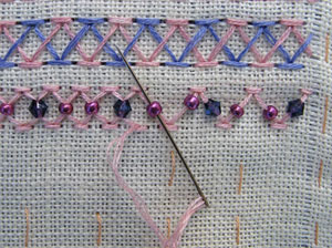 putting beads onto chevron stitch