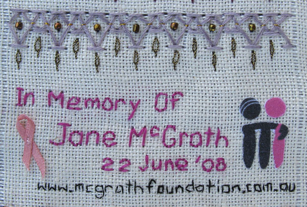 Chevon Stitch and in memory of Jane McGrath