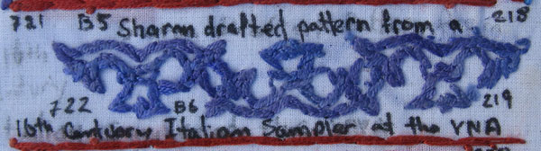 Detail of back of sampler