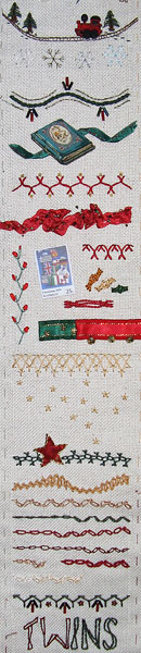 Twin Stocking section of sampler