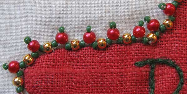 Beaded edge on Santa Pocket #3