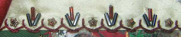 Half Chevron Stitch with Beads