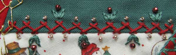 Herringbone and Detached Chain Stitch with Beads