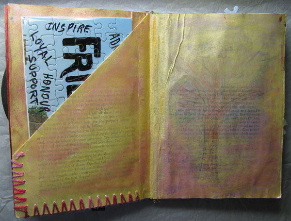 Altered Jigsaw puzzle in Pocket of an Altered Book Page