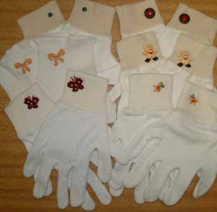 Embellished White Gloves