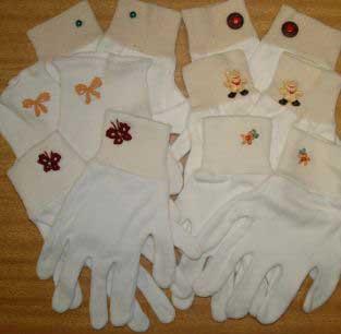 Embellished White Gloves