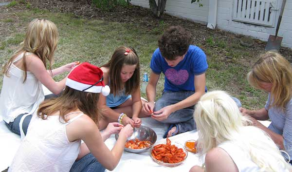 Eating Prawns on the lawn